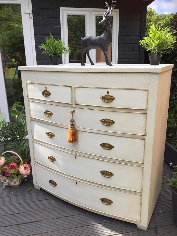 Custom /Bespoke orders more than welcome . I have plenty of Raw pieces for you to choose from . ~Fabulous VictorianBow front Large Chest of Drawers Circa 1850-90...With Ornate Solid Brass Handles ~  This Stunning chest of drawers has a gorgeous and elegant design and dates back to the early 19th century. It comprises of 6 deep drawers in total including beautiful ornate handles and escutcheons.  Victorian dovetail joints.  This a very grand chest has plenty of storage . Will look stunnin...