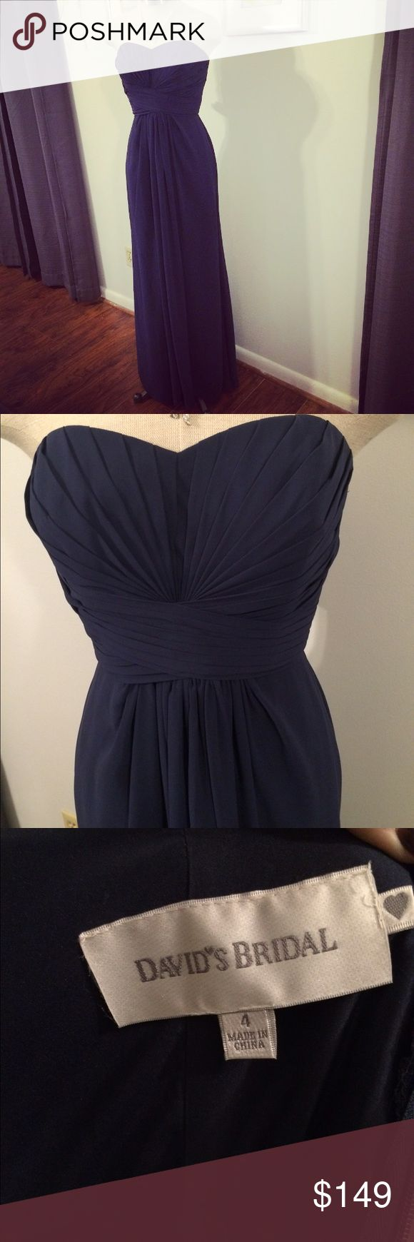 NWT David's Bridal Strapless Navy Dress Brand new navy blue dress from David's bridal size 4 in perfect condition perfect for a wedding, bridesmaid, prom etc davids bridal Dresses Wedding