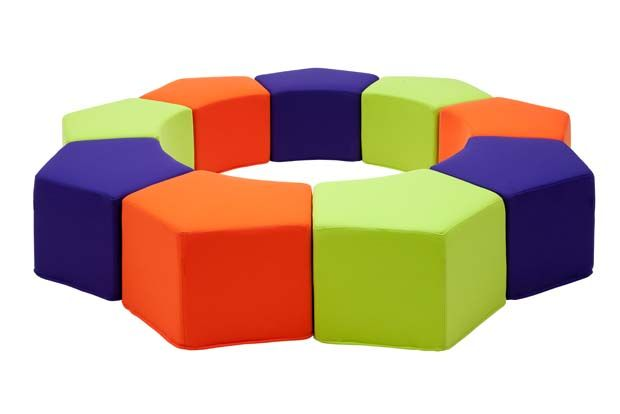 Pause Pouf is a flexible, comfortable pouf, with removable covers in many colors, that can be used alone or in groups of three or more.
