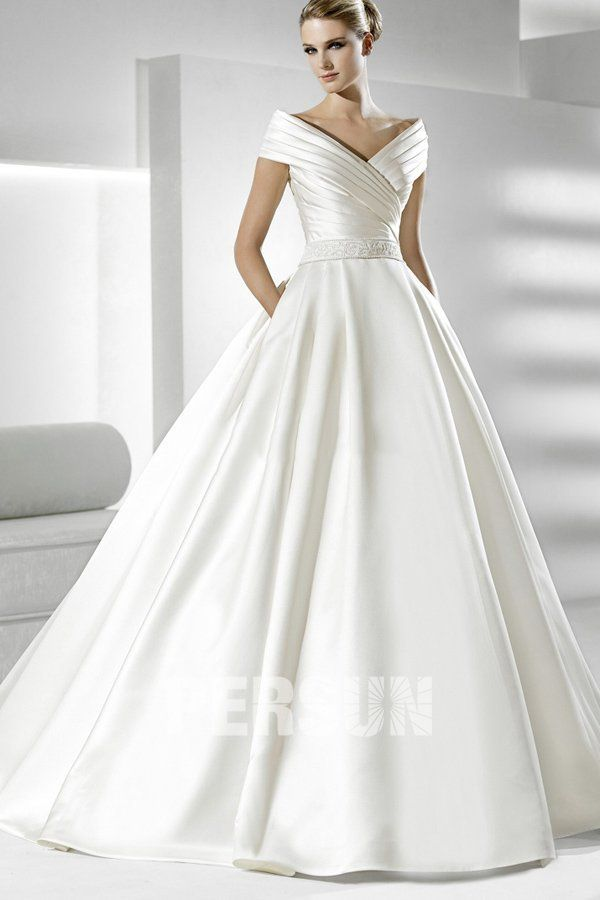 Applique V-neck Ball Gown Satin Wedding Dress
