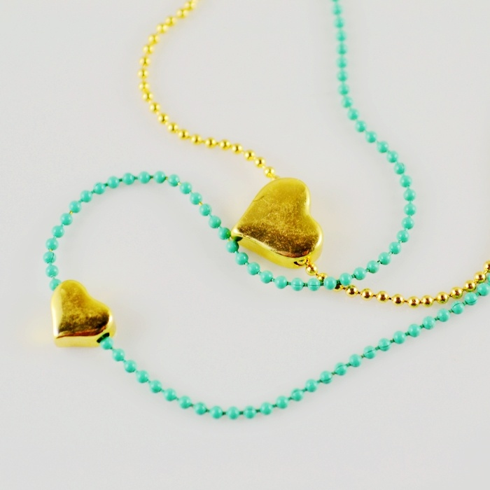 25. Golden hearts double-chain necklace (other colours/shapes available) $4