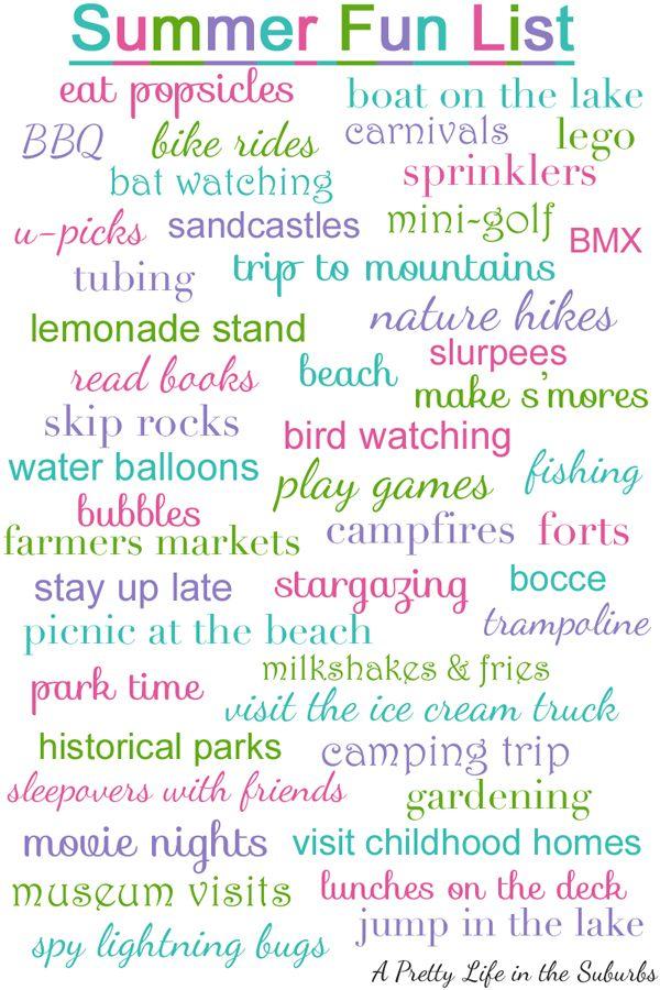 Summer Fun List - A Pretty Life In The Suburbs ;@)