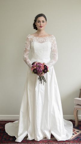 Alabaster Dress With Half Circle Skirt & Polly Lace Bodice by Sophie Voon Bridal  Sophie Voon wedding dresses lovingly designed and crafted in our Wellington, New Zealand workroom.