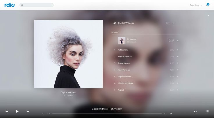 desktop version of the Rdio music player http://thegreatdiscontent.com/ryan-sims
