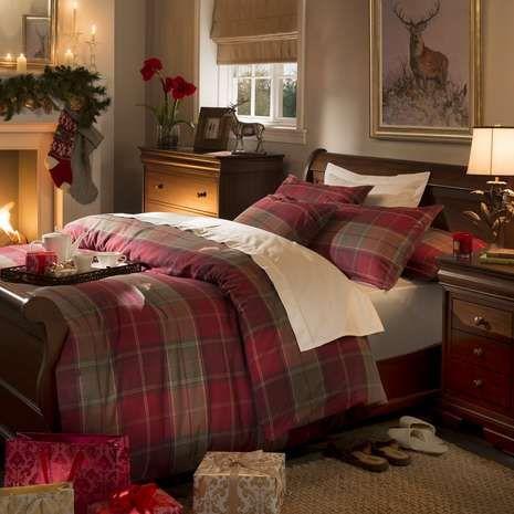 Dorma Red Balmoral Check Duvet Cover Set Bedroom