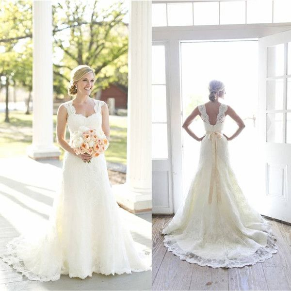 2015 Real Picture A-Line Lace Wedding Dresses Ivory Sweetheart Neck Sleeveless with Beaded Satin Sash Open Back Court Train Bridal Gowns
