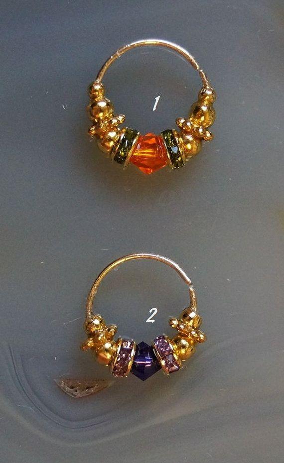 Nose Jewel, Nose ring, Nostril, Septum, Swarovski Crystal. Gold plated, 22 gauge, small on Etsy, $12.35