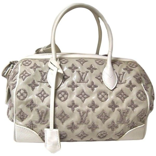 Pre-owned Speedy Bouclettes Sorbet (2,085 CAD) ❤ liked on Polyvore featuring bags, white, louis vuitton bags, silver metallic bag, zip bag, louis vuitton and preowned bags