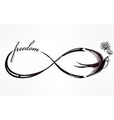 Infinity symbol with swallow vector