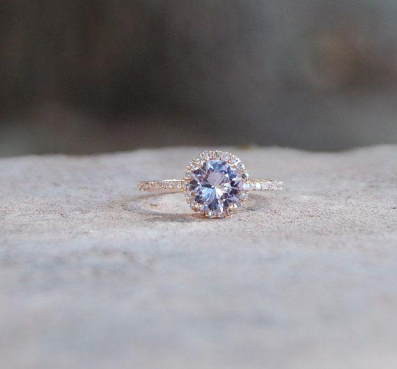 White Purple Lavender Pink sapphire diamond ring by EidelPrecious