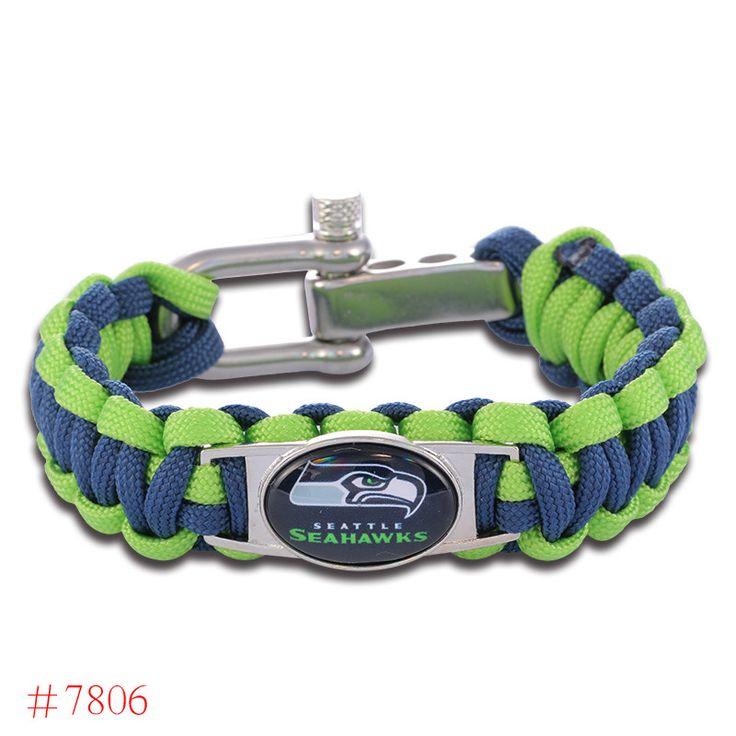 NFL Seattle Seahawks Paracord Bracelet Adjustable Survival Bracelet Football Bracelet , Drop Shipping! 6Pcs/lot!