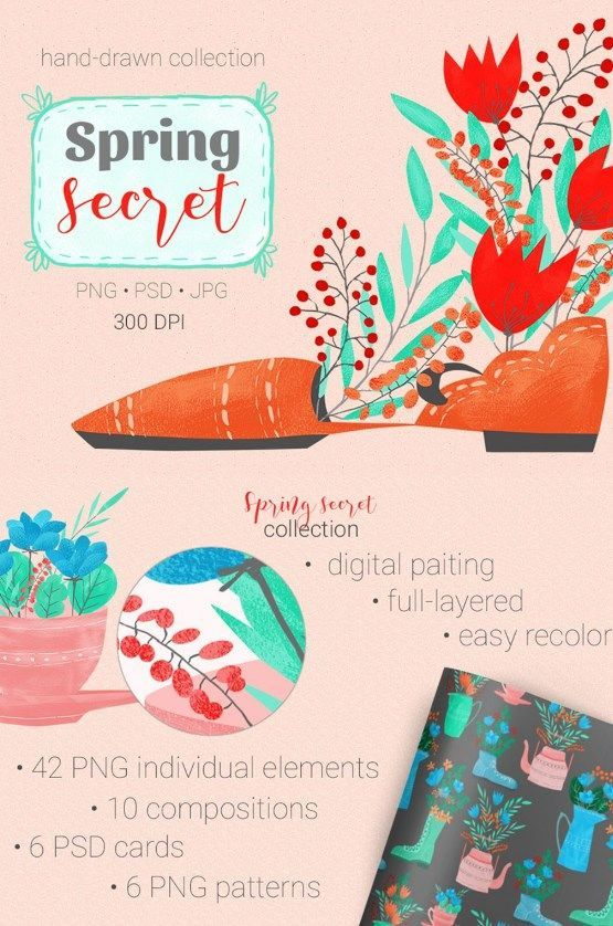 Spring Secret is hand painted set, inspired of mid-century modern style and dedicated the mystery of flowering. Inside you will find items that perfectly match the spring theme - flowers, shoes, utensils for tea drinking.  #set #illustrations #theme #watercolor https://www.templatemonster.com/illustrations/spring-secret-collection-illustration-67814.html