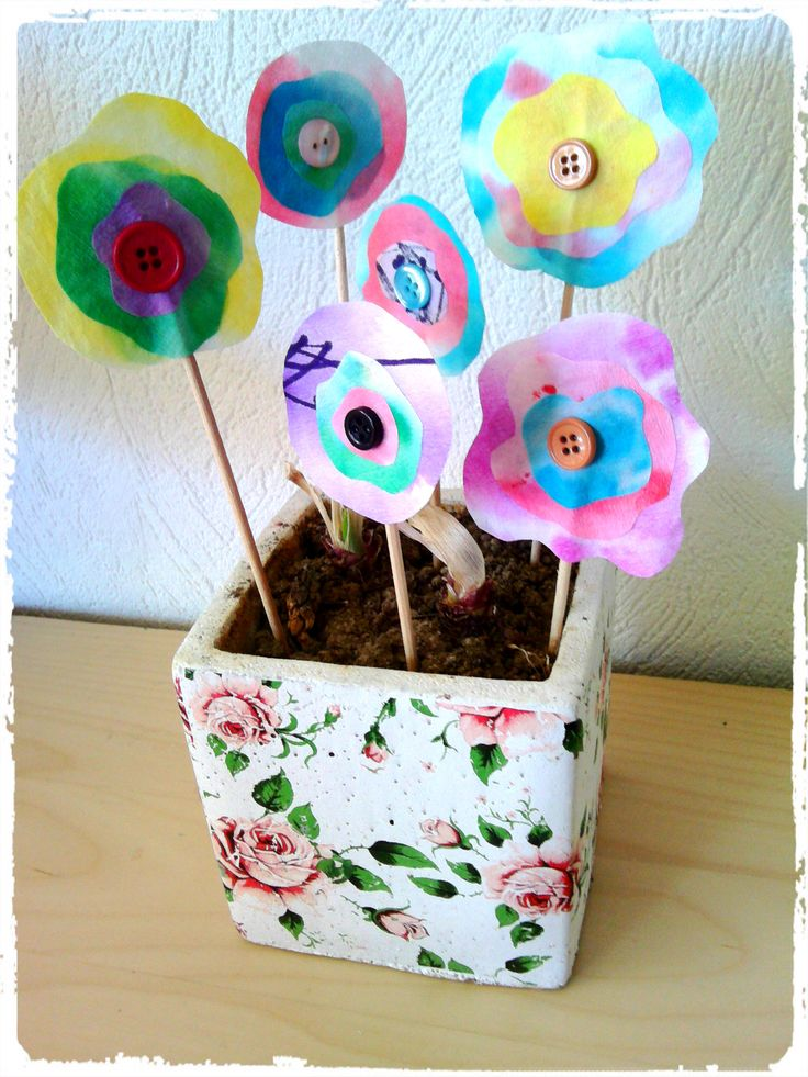 fleurs en filtres à café, printemps, bricolage enfant