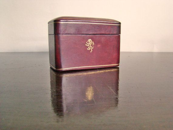 vintage burgundy calf leather playing card case by ErinSheaVintage