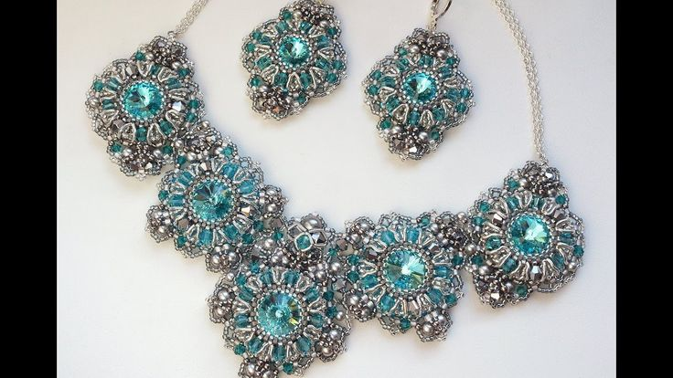 Колье из бисера и кристаллов Сваровски / Beaded necklace, handmade