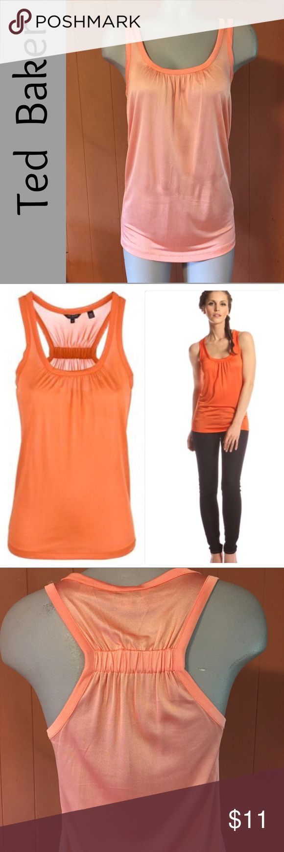 TED BAKER London peach coral racer back silky tank Luxe TED BAKER London Skylon Racerback tank with great details. Elastic across Racerback with delicate gathering allows the silky 100% viscose fabric to drape nicely. Color is a pale peach orange shade. Scoop neck also features slight gathering, so the tank glides over you. This is Ted Baker's size 2, which is equal to a small or US 6. In great condition. From Bloomingdales. High quality fabric & construction. Machine washable.  (#391) Ted…