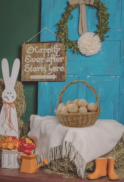 Buy discount Kate Blue Door Straw pile Easter Backdrop Photos Background for Studio,photography studio custom backdrops baby photos