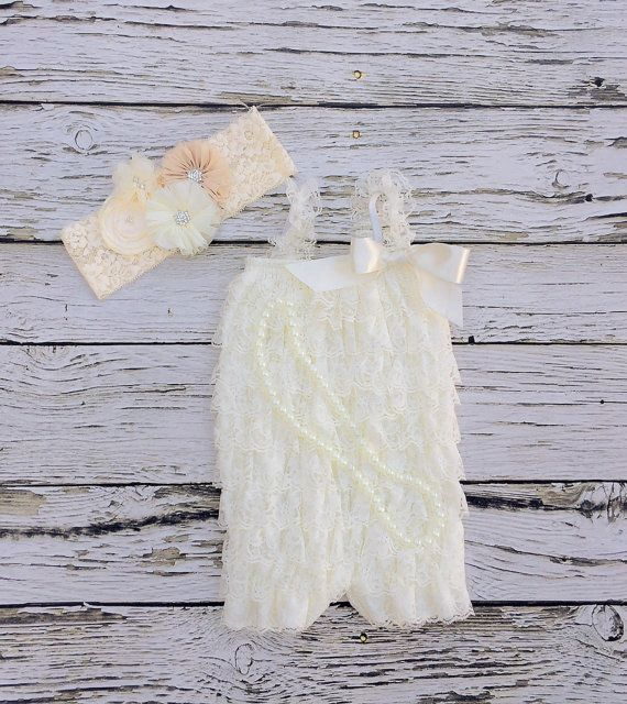Baby girl 1st birthday outfit. Ivory lace romper. by KadeesKloset