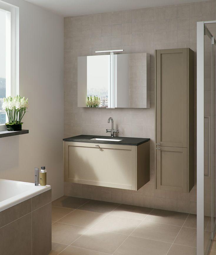 Bruynzeel badmeubel fano 100cm zandgrijs met granieten wastafel badkamerkast badkamer idee for Badkamer idee
