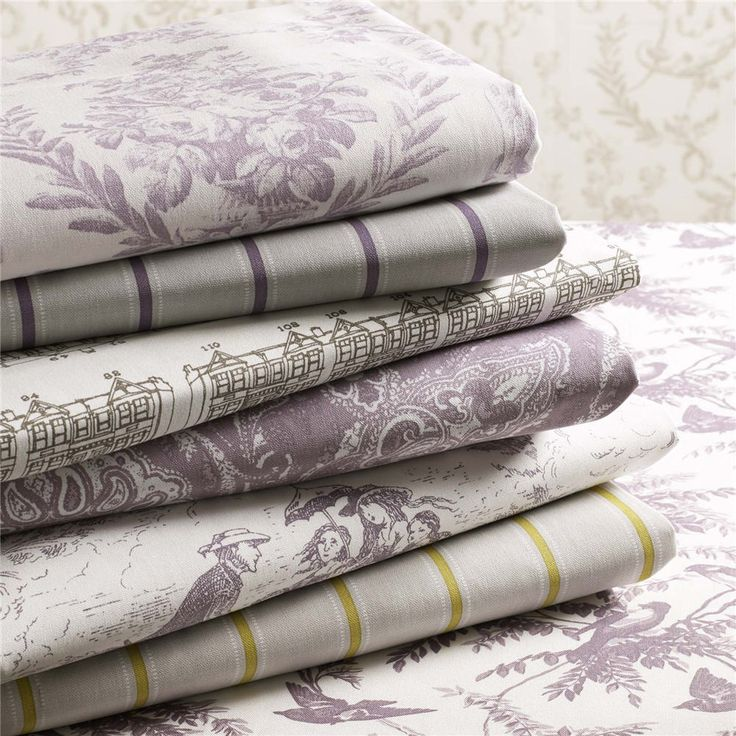 Archive collection by Charles Parsons Interiors #charlesparsonsinteriors #fabric #material #curtains #drapery #cushions #purple #print #toile #ashleywilde #stripe