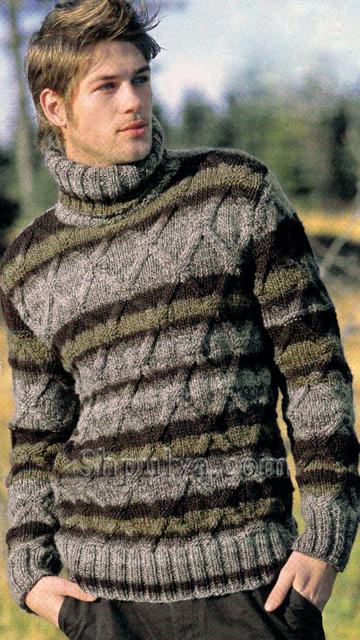 Мужской свитер из меланжевой пряжи узором с ромбами