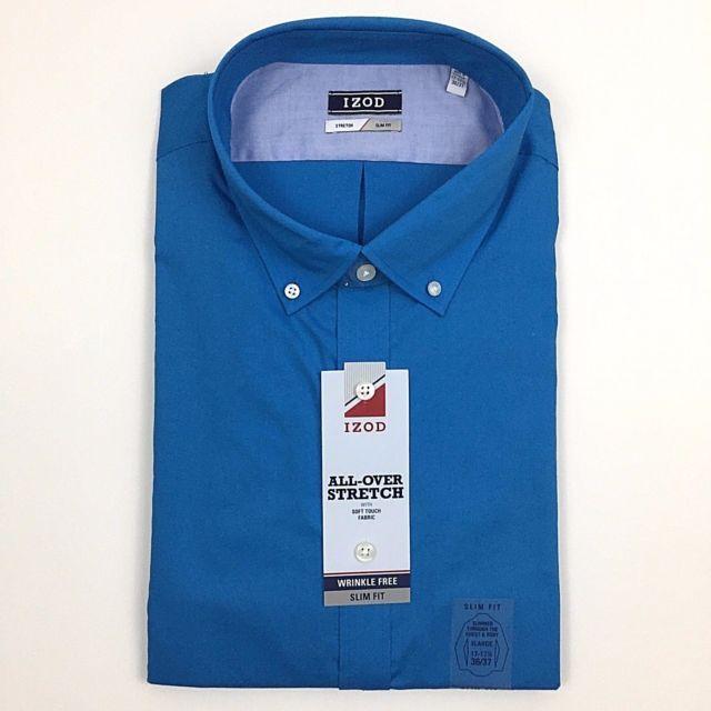 Izod All Over Stretch Slim Fit Shirt XL 17 17.5 LS 36/37 Sky Blue Button Down | eBay