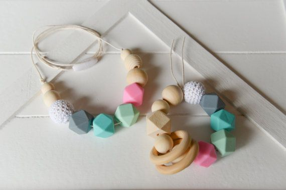 Mixed Wooden / Silicone Baby Teether Gift Set  by Bits4BubsAndMore