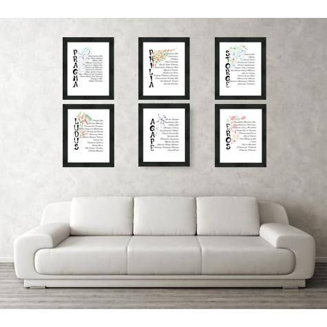 Love Words - Posters Set of Six -Valentines Day Gift.
