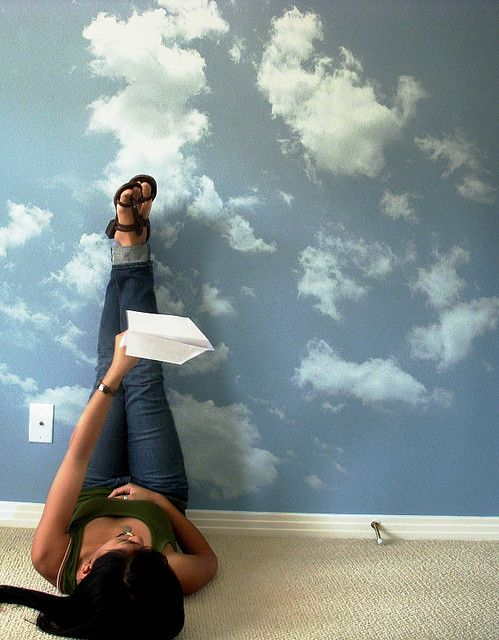 Cloud wallpaper. This would be great on a ceiling!