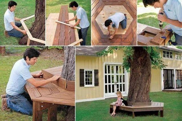 projet DIY de banc de jardin de pourtour d'arbre