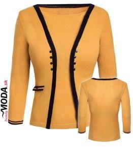 Žltý pulóver priliehavého strihu, pekne tvarujúci siluetu postavy - trendymoda.sk