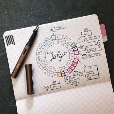 Une étonnante disposition circulaire, que j'ai vu passer plusieurs fois récemment sur le groupe facebook du Bullet Journal Francophone. Compte instagram pureplanning_bymj