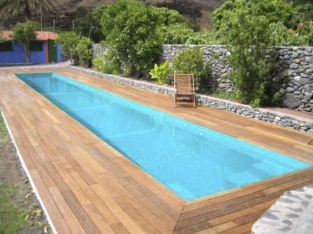 Inground one-piece swimming pool in fiberglass (lap pool) - Multiforma . Would need to build a sunscreen over it.