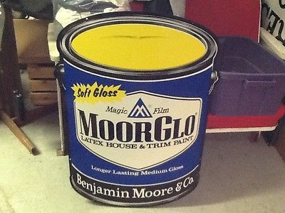 VINTAGE BENJAMIN MOORE MOORGLO LATEX PAINT CAN (SHAPED) TIN SIGN ...