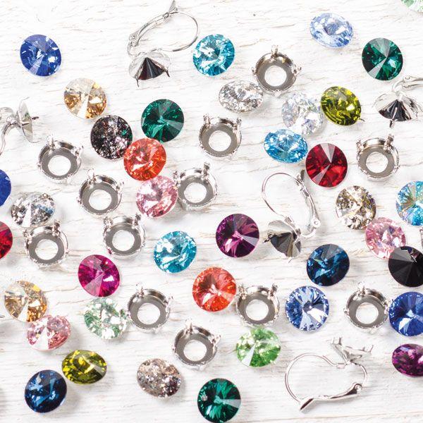 Fassungen und Swarovski Rivoli für tolle selbstgemachte Schmuckstücke.#diyschmuck #schmuckanleitung #schmuckshop #selbstgemacht #jewelrymaking #schmuckdesign #schmuckideen #swarovskischmuck