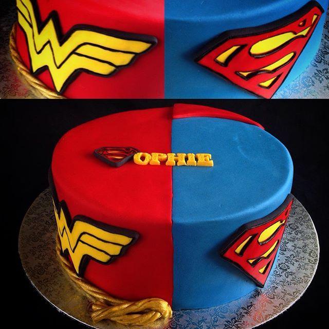 Superhero Birthday Cake With Supergirl And Superman