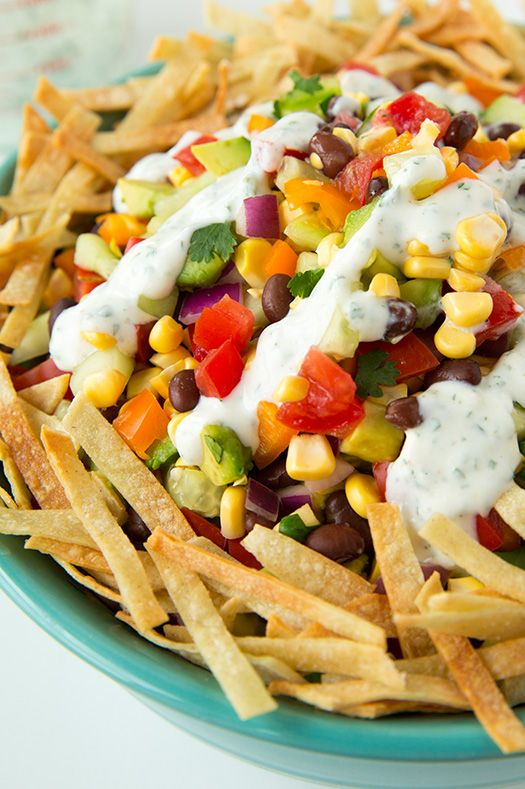 Mexican Chopped Salad (Healthy)  with Greek Yogurt Cilantro Lime Ranch and a Giveaway - Cooking Classy