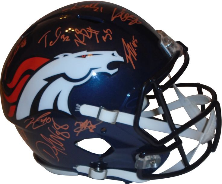2015 Denver Broncos Team Autographed Riddell Full Size Speed Style Football Helmet, Proof. This is a brand-new 2015 Denver Broncos team signed Riddell full size deluxe replica speed style football helmet.  The following Broncos signed the helmet in orange paint pen: Von Miller, Demaryius Thomas, Demarcus Ware, Aqib Talib, Shane Ray, Andre Caldwell, Montee Ball, Tony Carter, Danny Travathan, Antonio Smith, Virgil Green, Antonio Smith, Brandon McManus, Nathan Palmer, Omar Bolden, Kapri Bibbs…