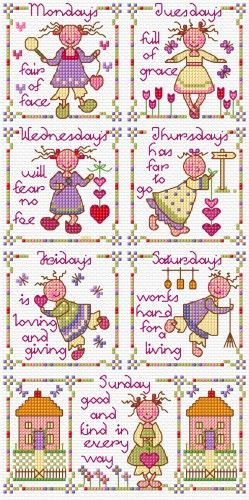 LJT15C Nursery Rhyme children | Lesley Teare Needlework and Cross Stitch Chart Designs