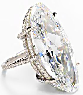 """""""Thread"""" ring by JAR with 22.76 carat elongated oval-cut diamond"""