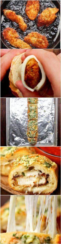 Olha esta sequência de imagens. | Hoje é dia de pão de alho recheado com frango à milanesa