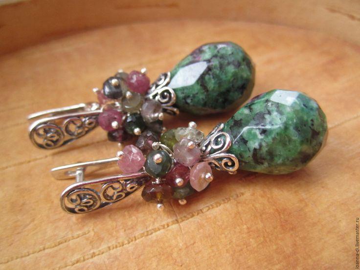 """Купить Серьги """"Альпы"""" циозит, турмалин - зеленый, серьги ручной работы, серьги с камнями"""
