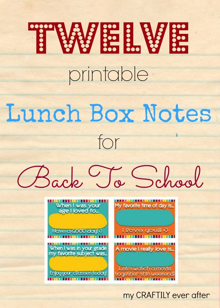 12 printable lunch box note ideas for back to school
