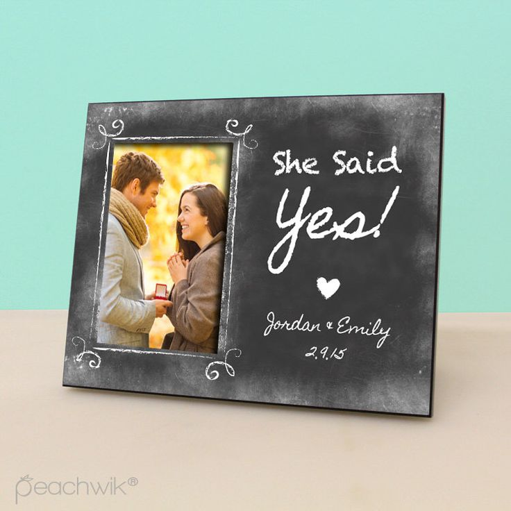Engaged Photo Frame - She Said Yes - Personalized Engagement Frame - Engagement Reveal -Personalized Chalkboard Picture Frame -PF1097 by PeachwikDecor on Etsy https://www.etsy.com/listing/217855782/engaged-photo-frame-she-said-yes