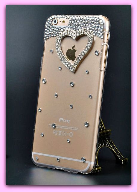 """Heart iPhone 6 , 6s 4.7"""" Plus 5.5"""" Bling Crystal Diamond Transparent Hard Case Cover FREE SHIPPING"""