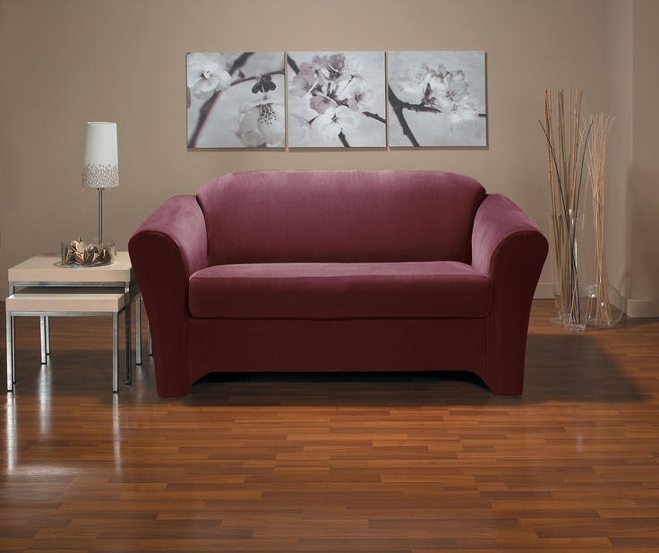 Eastwood Wine Loveseat Slipcover. Plush velvety surface, form fit slip cover design, living room, beautiful interior design, chic home decor