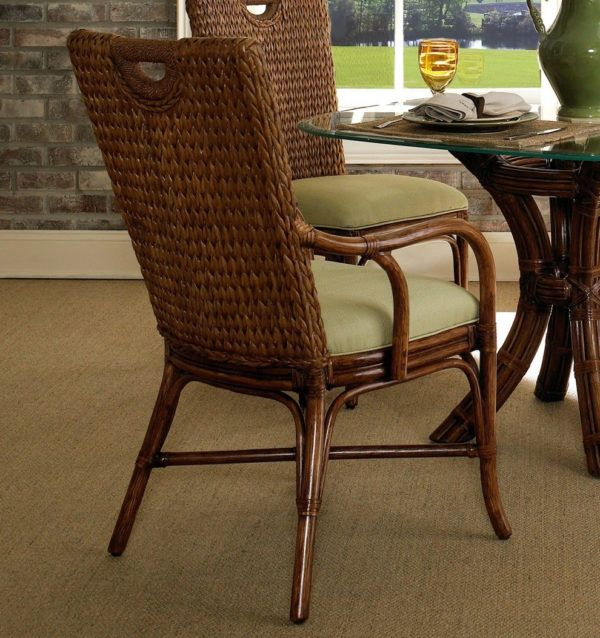 Callaway Rattan Wicker Dining Arm Chair From Classic Rattan Model
