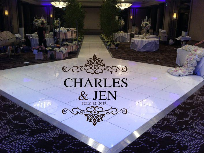 Elegant huge damask theme dance floor decal wedding day fancy calligraphy font dance floor personalized names vinyl lettering 39 colors