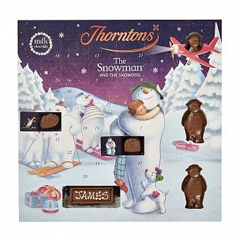 Thorntons' The Snowman and The Snowdog Advent Calendar, countdown to Christmas with this milk chocolate filled advent calendar from Thorntons.
