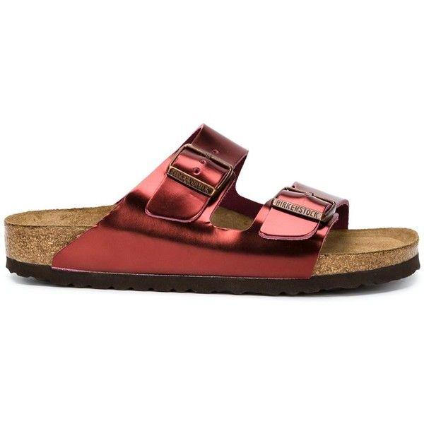 Birkenstock 'Arizona' sandals ($185) ❤ liked on Polyvore featuring shoes, sandals, red, red sandals, red shoes, birkenstock, birkenstock sandals and birkenstock shoes